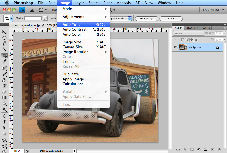 photoshop automatische foto optimalisatie menu
